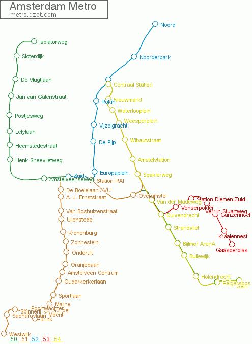 Amsterdam Subway Map.Map Of Amsterdam Metro