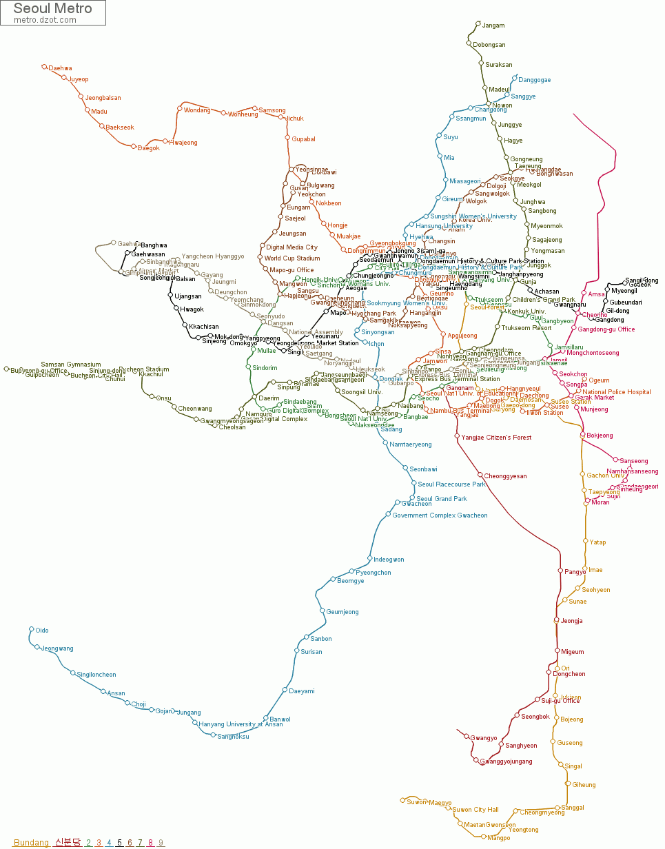 Ansan Seoul Subway Map.Map Of Seoul Metro