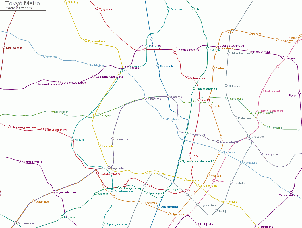Aoyama Itchome On Subway Map.Map Of Tokyo Metro